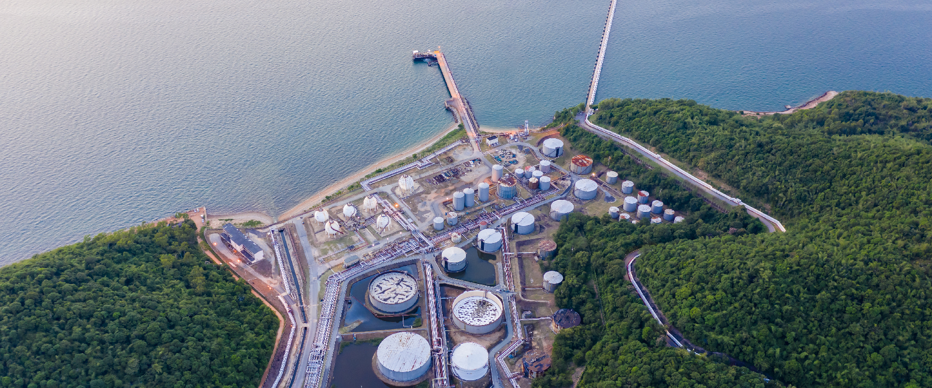 refinery tanker zone on island in Thailand