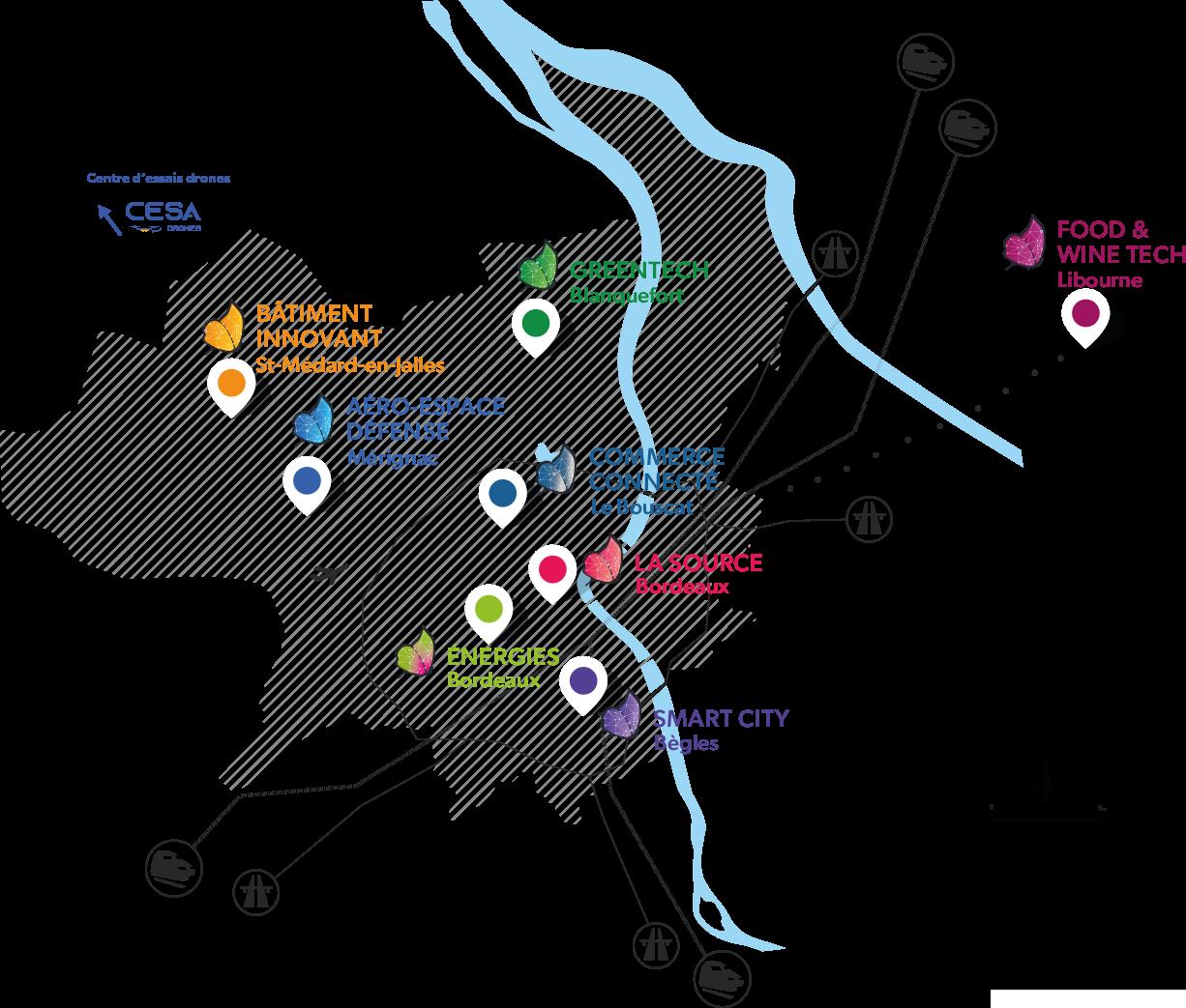 Carte des sites technopolitains